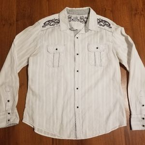 Pila Design Mens White Fleur-De-Lis Western L/S
